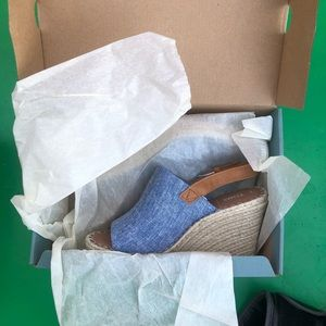 TOMS MONICA Blue Chambray/Leather